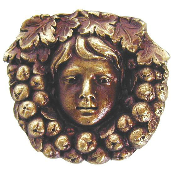 Knob, Fruit of the Vine, Antique Brass
