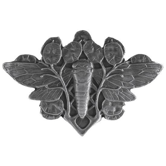 Knob, Cicada on Leaves, Antique Pewter