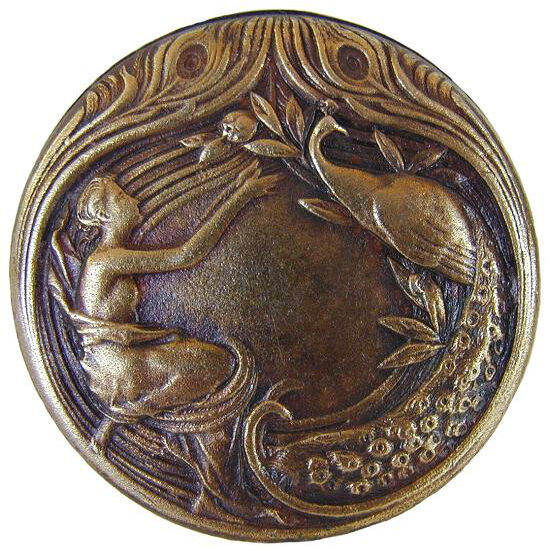 Knob, Peacock Lady, Antique Brass