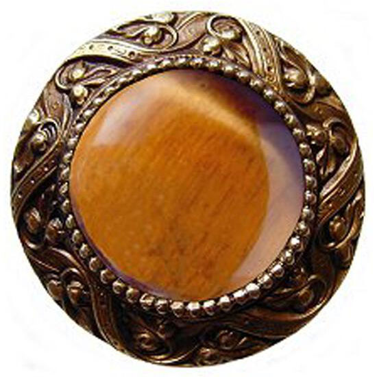 Knob, Victorian Jewel, Tiger Eye, Antique Brass