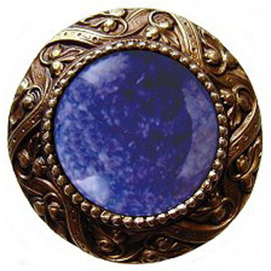 Knob, Victorian Jewel, Blue Sodalite, Antique Brass