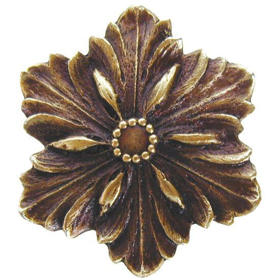 Knob, Opulent Flower, Antique Brass