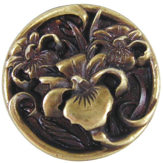Knob, River Irises, Antique Brass
