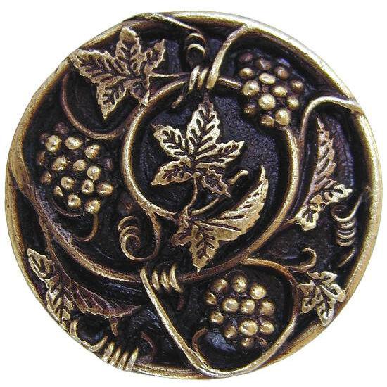 Knob, Grapevines, Antique Brass