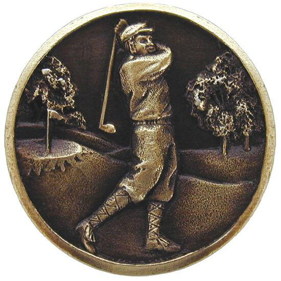 Knob, Gentleman Golfer, Antique Brass