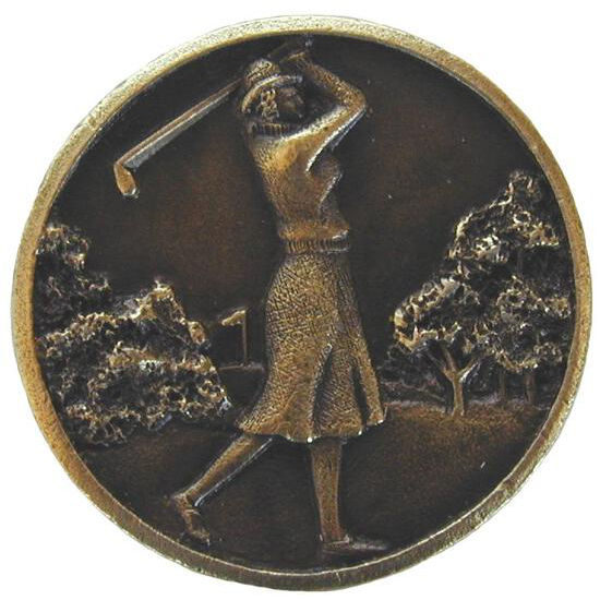 Knob, Lady of the Links, Antique Brass