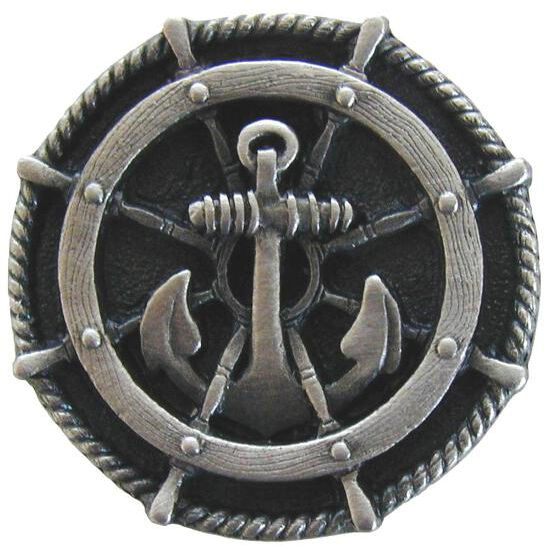 Knob, Ship's Wheel, Antique Pewter