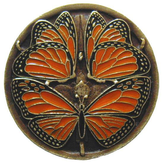 Knob, Monarch Butterflies, Enameled Brass