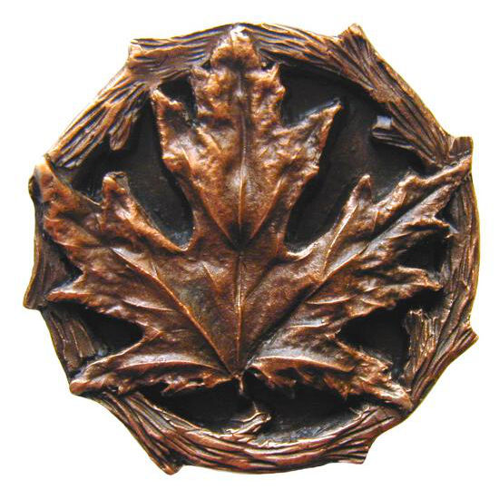 Knob, Maple Leaf, Antique Copper