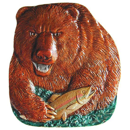 Knob, Shore Lunch (Bear), Hand Tinted Pewter