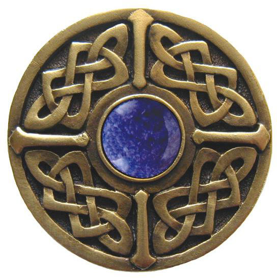 Knob, Celtic Jewel, Blue Sodalite, Antique Brass