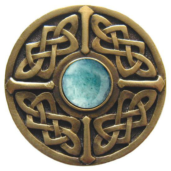 Knob, Celtic Jewel, Green Aventurine, Antique Brass