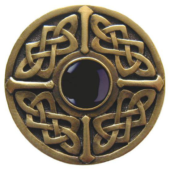 Knob, Celtic Jewel, Black Onyx, Antique Brass