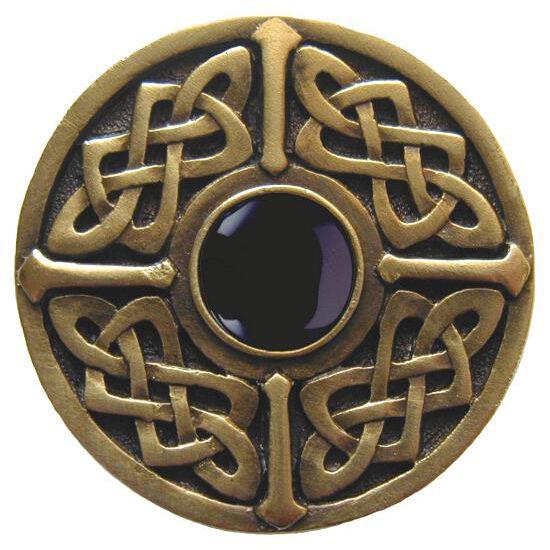 Knob, Celtic Jewel, Black Onyx, Antique Brass