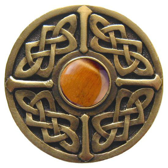 Knob, Celtic Jewel, Tiger Eye, Antique Brass