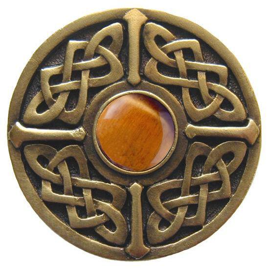 Knob, Celtic Jewel, Tiger Eye, Antique Brass