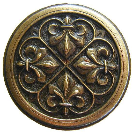 Knob, Fleur-de-lis, Antique Brass