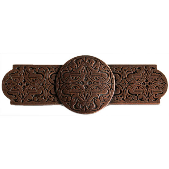 Notting Hill Classic Collection 4'' Wide Renaissance Etch Cabinet Pull in Antique Copper, 4'' W x 7/8'' D x 1-1/2'' H