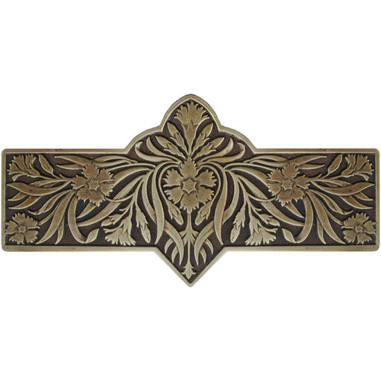 Notting Hill English Garden Collection 4-3/8'' Wide Dianthus Cabinet Pull in Antique Brass, 4-3/8'' W x 7/8'' D x 2-1/4'' H