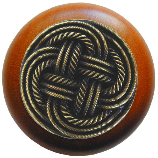 Knob, Classic Weave, Cherry Wood, Antique Brass