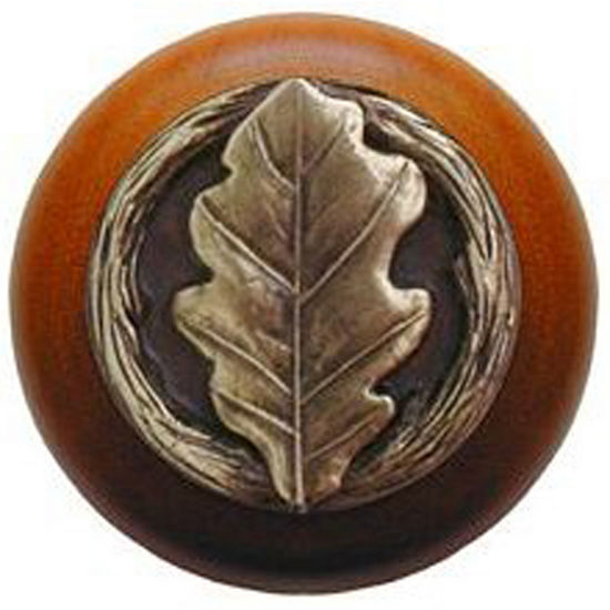 Notting Hill Leaves Collection 1-1/2'' Diameter Oak Leaf Cherry Wood Round Knob in Antique Brass, 1-1/2'' Diameter x 1-1/8'' D