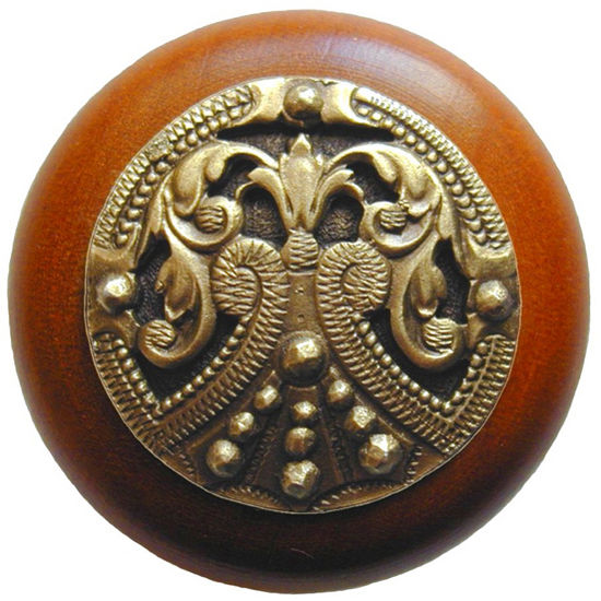 Knob, Regal Crest, Cherry Wood w/ Pewter, Antique Brass