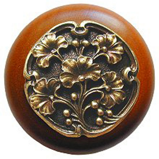 Knob, Gingko Berry, Cherry Wood w/ Pewter, Antique Brass