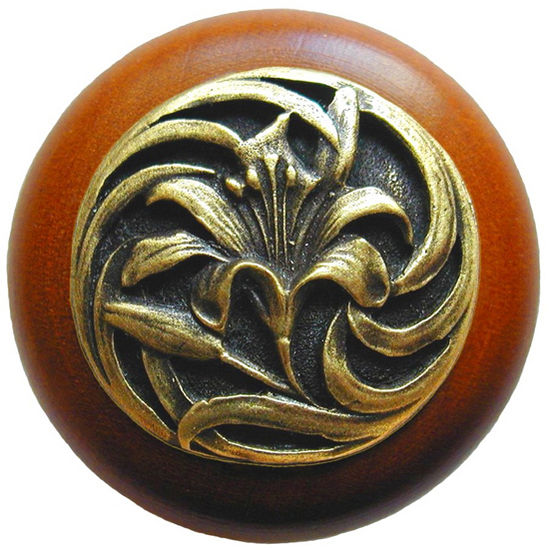 Knob, Tiger Lily, Cherry Wood w/ Pewter, Antique Brass