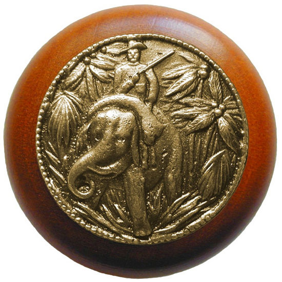 Knob, Jungle Patrol, Cherry Wood w/ Pewter, Antique Brass