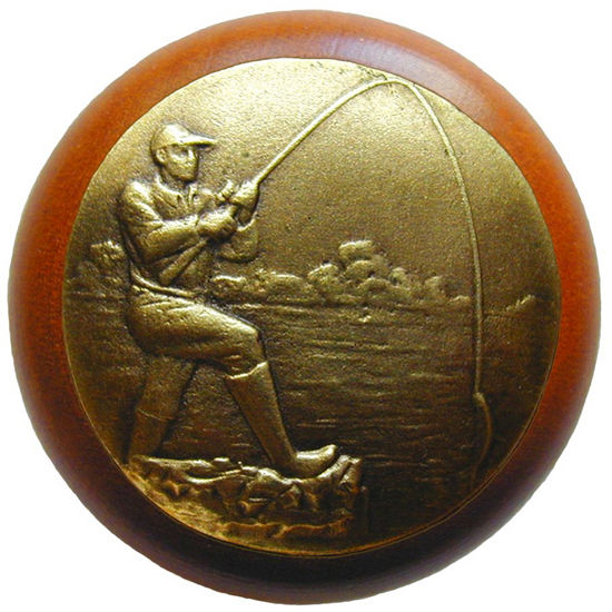Knob, Catch of the Day, Cherry Wood, Antique Brass