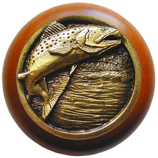 Knob, Leaping Trout, Cherry Wood & Pewter, Antique Brass