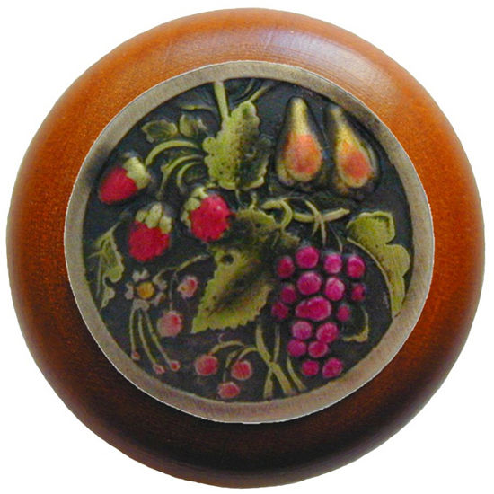 Knob, Tuscan Bounty, Cherry Wood, Hand Tinted Brass
