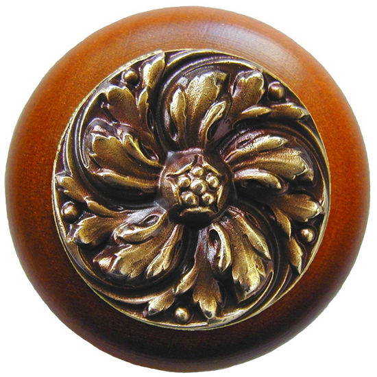 Knob, Chrysanthemum, Cherry Wood, Antique Brass