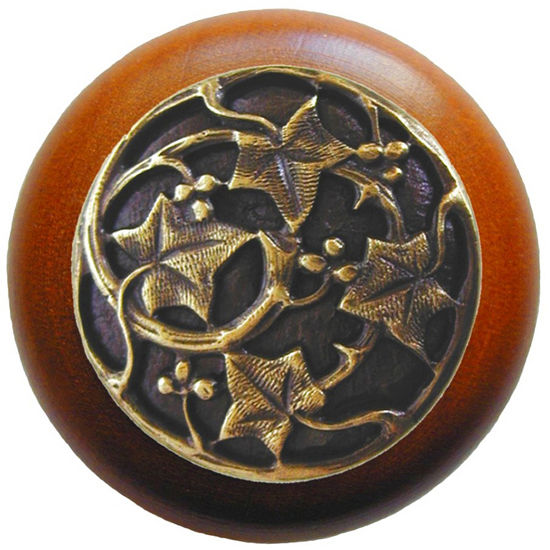 Knob, Ivy, Cherry Wood, Antique Brass