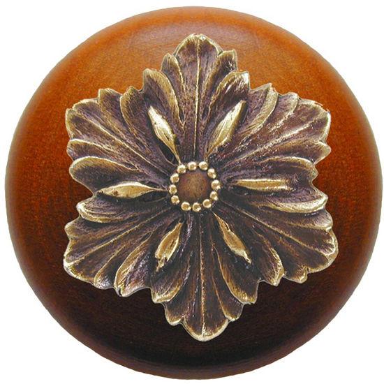 Knob, Opulent Flower, Cherry Wood, Antique Brass