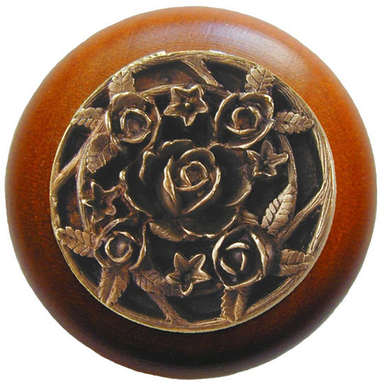 Knob, Saratoga Rose, Cherry Wood, Antique Brass