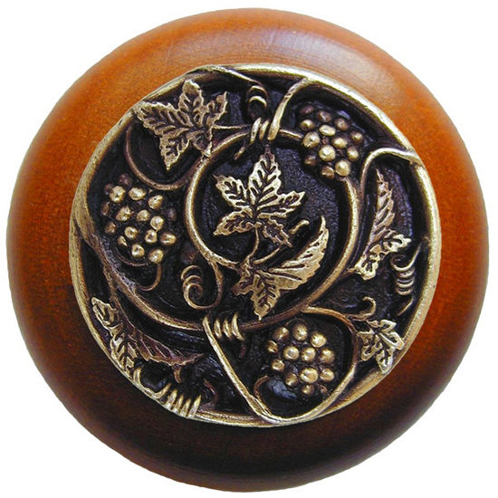 Knob, Grapevines, Cherry Wood, Antique Brass