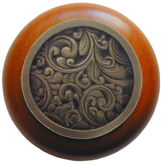 Knob, Saddleworth, Cherry Wood, Antique Brass