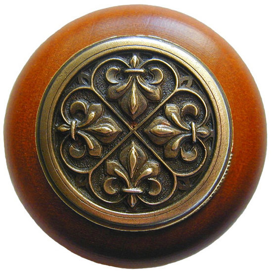 Knob, Fleur-de-lis, Cherry Wood, Antique Brass