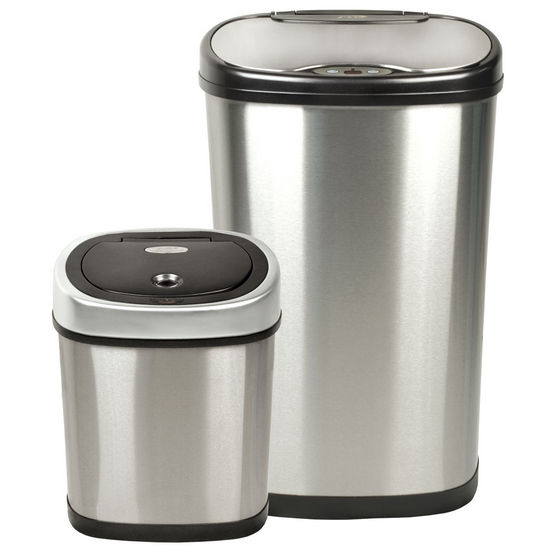 Nine Stars Hands-Free Infrared Motion Sensor Trash Can Combo, Stainless Steel