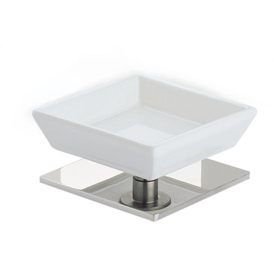 Square White Ceramic Soap Holder