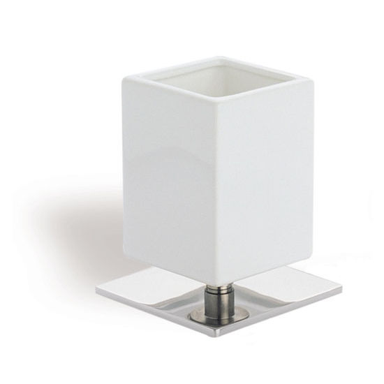 Square White Ceramic Toothbrush Holder