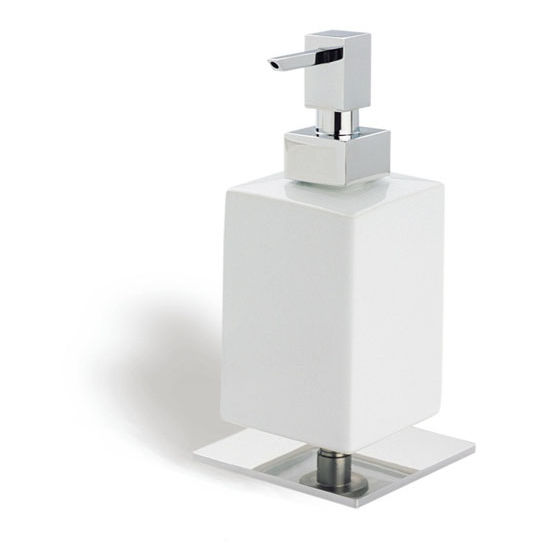 Square White Ceramic Soap Dispenser