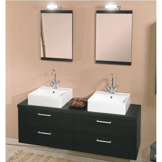"Iotti by Nameeks Aurora A11 Wall Mounted Double Sink Bathroom Vanity Set in Grey Oak, 60-4/5"" Wide (Includes: (2) Main Cabinets, Wooden Top, (2) Sinks, (2) Mirrors and (2) Vanity Lights)"