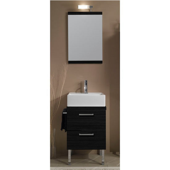 "Iotti by Nameeks Aurora A12 Floor Standing Single Sink Bathroom Vanity Set in Grey Oak, 18-3/5"" Wide (Includes: Main Cabinet, Wooden Top, Sink, Mirror and Vanity Light)"