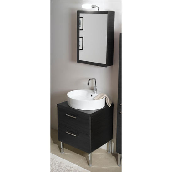 "Iotti by Nameeks Aurora A13 Floor Standing Single Sink Bathroom Vanity Set in Grey Oak, 22-1/2"" Wide (Includes: Main Cabinet, Wooden Top, Sink, Medicine Cabinet and Vanity Light)"