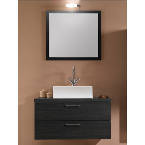 "Iotti by Nameeks Aurora A14 Wall Mounted Single Sink Bathroom Vanity Set in Grey Oak, 30-2/5"" Wide (Includes: Main Cabinet, Wooden Top, Sink, Mirror and Vanity Light)"