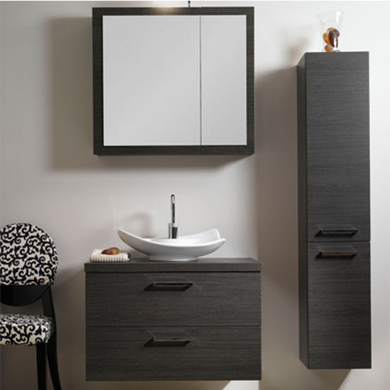 "Iotti by Nameeks Aurora A15 Wall Mounted Single Sink Bathroom Vanity Set in Grey Oak, 30-2/5"" Wide (Includes: Main Cabinet, Wooden Top, Sink, Medicine Cabinet and Vanity Light)"