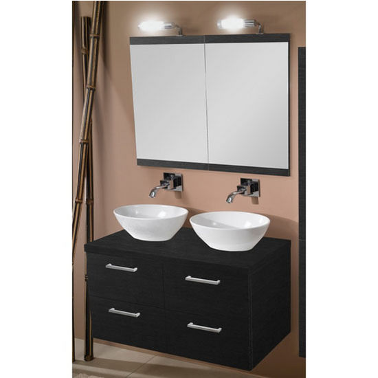"Iotti by Nameeks Aurora A16 Wall Mounted Double Sink Bathroom Vanity Set in Grey Oak, 37-1/5"" Wide (Includes: (2) Main Cabinets, Wooden Top, (2) Sinks, (2) Mirrors and (2) Vanity Lights)"