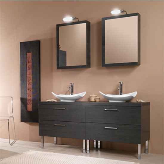 "Iotti by Nameeks Aurora A17 Floor Standing Double Sink Bathroom Vanity Set in Grey Oak, 60-4/5"" Wide (Includes: (2) Main Cabinets, Wooden Top, (2) Sinks, (2) Medicine Cabinets and (2) Vanity Lights)"